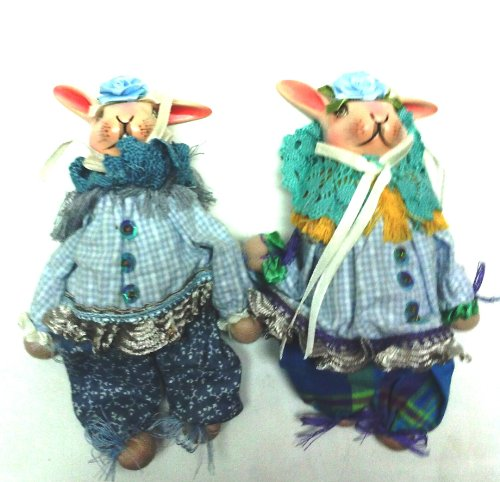 Hanging Ornament Girl/Boy Rabbits Blue/White (Set)