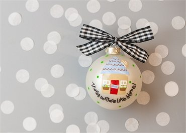 Coton Colors Painted Christmas Ornaments. The 100mm Round Glass New Home Ornament Is Designed with a Welcoming Home and Features Artistic Writing