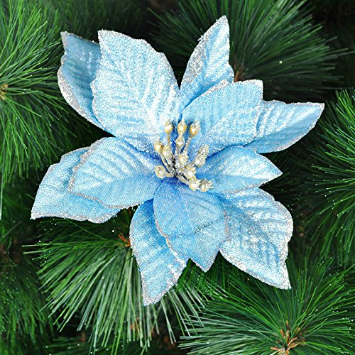 6Pcs 5 Inch Glitter Artificial Christmas Flowers XMAS Tree Wreaths Decor Ornament Blue
