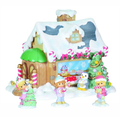 Precious Moments Candy Cane Lane Set/4 Sweet Shop With 3 Figurines