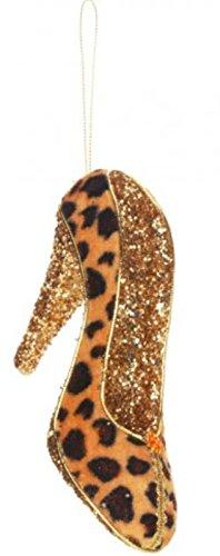 5″ Diva Safari Tan Leopard Print Gold Glitter Embellished Pump High Heel Shoe Christmas Ornament