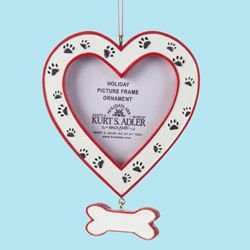 Kurt Adler Pet Heart Picture Frame with Bone Dangle and Paw Prints Christmas Ornament for Personalization