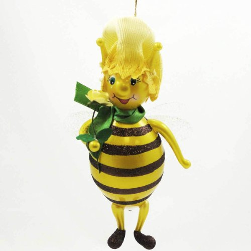 De Carlini Standing Bee With Flowers Ornament – Blown Glass 6.50 IN