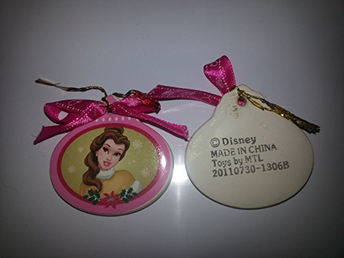 Disney Belle Christmas Ornament – Oval Porcelain with Pink Ribbon