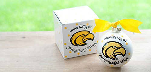Coton Colors University Southern Mississippi (USM) Ornament Featuring the Southern Mississippi Logo and School Colors! Each Ornament Is Perfectly Packaged with a Matching Gift Box and Coordinating Tied Ribbon for Easy Gift Giving and Safe Storage.