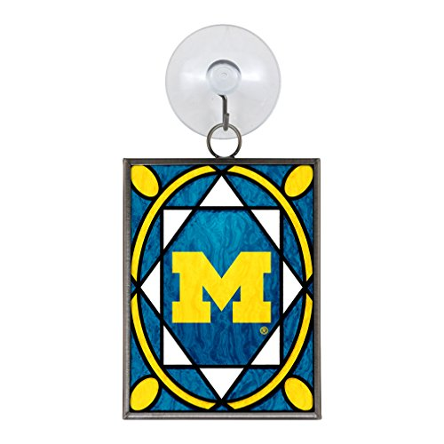 Michigan Wolverines Official NCAA 2 inch x 3 inch Stained Glass Christmas Ornament