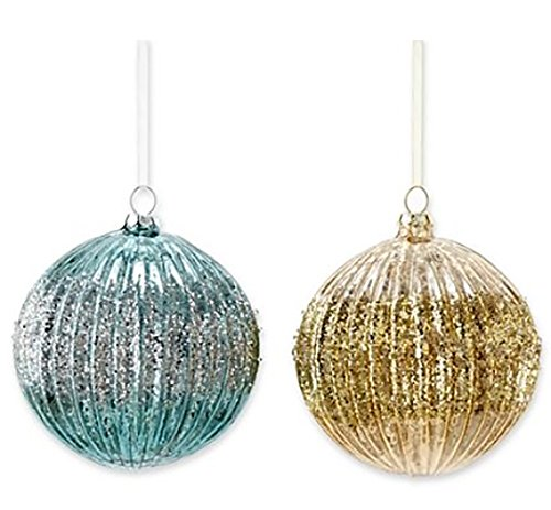 Marthaholiday Silent Night Set of Two Ribbed Glass Ball Christmas Ornaments