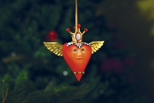 Patience Brewster Mini Heart with Crown Ornament Christmas Holiday Tree Decoration
