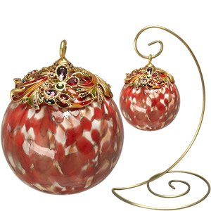 Jay Strongwater Red Glass Ornament Sm