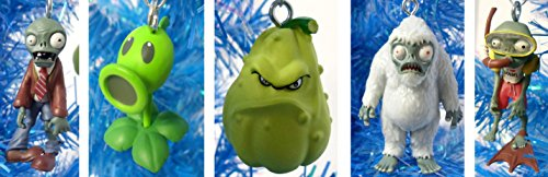 Plants vs Zombies 5 Piece Holiday Christmas Ornament Set Featuring Zombie, Scuba Zombie, Yeti, Squash, and Peashooter – Shatterproof Plastic Ornaments Range from 1″ to 2.5″ Tall – Perfect for Kids Tree or Desk Office Tree