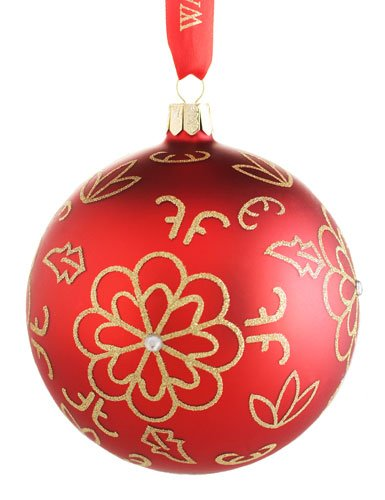 Waterford Holiday Heirlooms Red Flower Burst Glass Ball Ornament