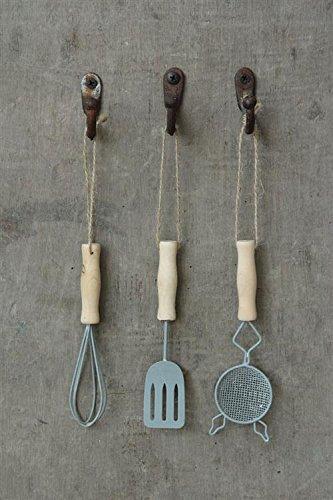 Metal Kitchen Utensil Ornaments, Set of 3, Whisk, Spatula & Straner