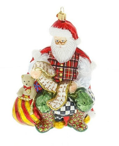 MacKenzie-Childs Cortly Check Checking it Twice Santa Ornament