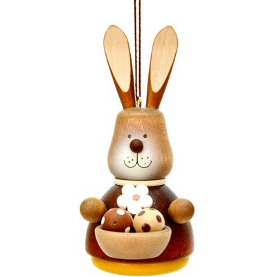 """15-0209 – Christian Ulbricht Ornament – Bunny with Basket – Natural – 4″""""H x 2″""""W x 3″""""D"""