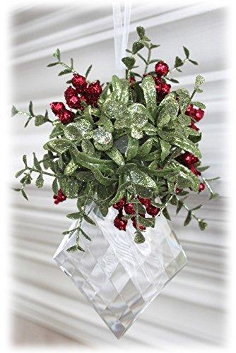 Kissing Krystal Acrylic Christmas Mistletoe Ornament w/ Hanger (Large Diamond – KK14 Style C)