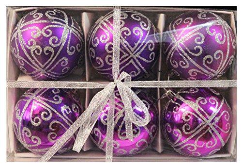"6pk 80mm Shatterproof ""Regal Purple"" Christmas Ball Ornaments/Decorations"