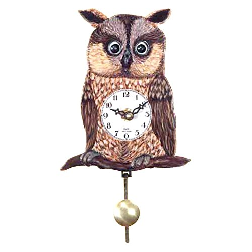 Alexander Taron Black Forest Owl' Eye 5.75-Inch Wide Wall Clock, Black, Other Materials
