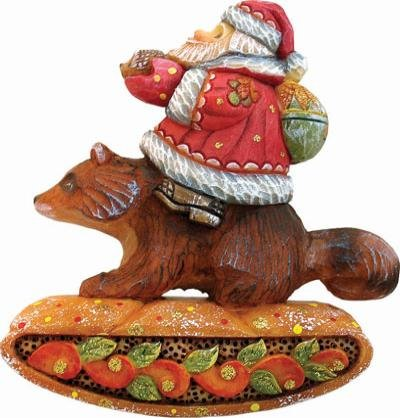 SANTA ON RACCOON – Christmas Ornament – G. DeBrekht Artistic Studios