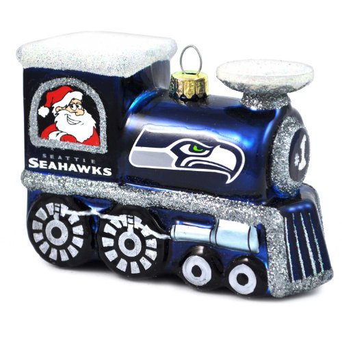 NFL Seattle Seahawks Blown Glass Train Ornament