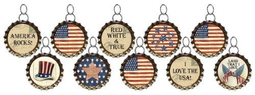 Primitives By Kathy Miniature Vintage Brass Bottlecap Ornaments – Patriotic