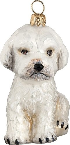 White Maltipoo Dog Polish Blown Glass Christmas Ornament