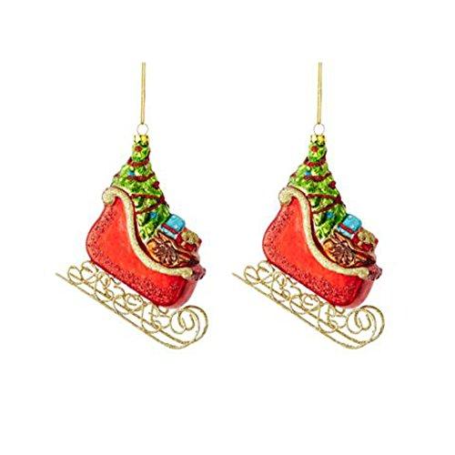 Martha Stewart Holiday Sled Christmas Ornaments – Set of 2
