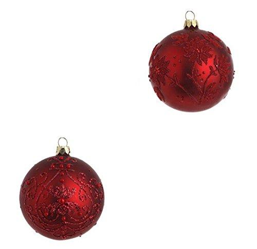 RAZ Imports – 4″ Red Glittered & Beaded Ornaments (Ball)
