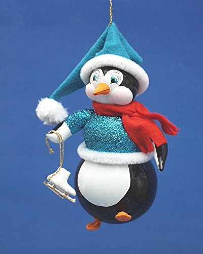 De Carlini Penguin with Skates and Scarf Italian Mouthblown Christmas Ornament