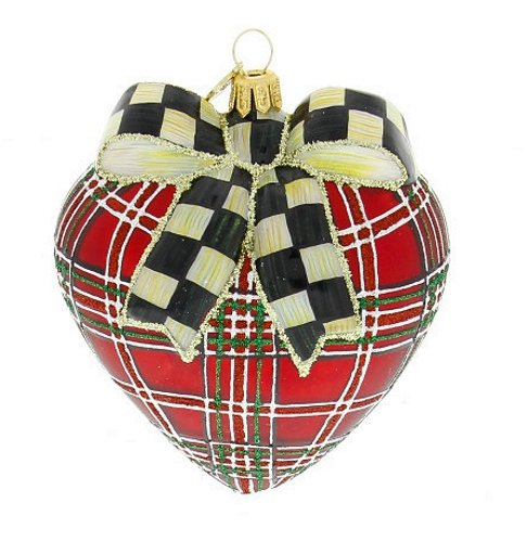 MacKenzie-Childs Cortly Check Tartan Heart Ornament