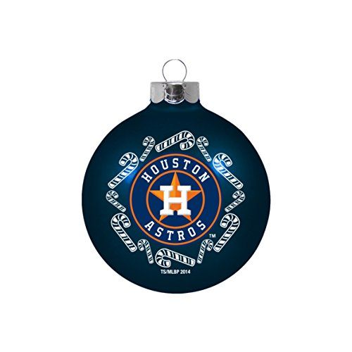Houston Astros 2-5/8″ Candy Cane Glass Ball Ornament