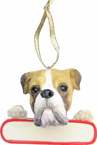 "Boxer Ornament Fawn ""Santa's Pals"" With Personalized Name Plate A Great Gift For Boxer Lovers"