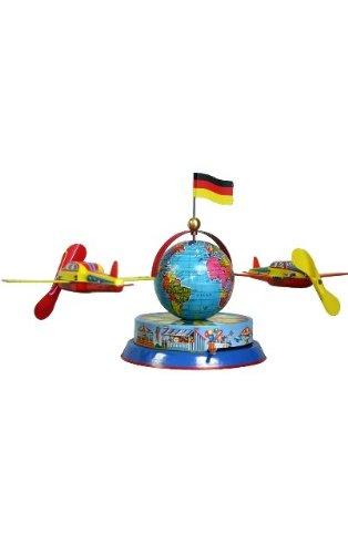 Alexander Taron German Collectible Tin Toy – Airplanes Circling Globe – 6.5″H x 13″W x 5″D