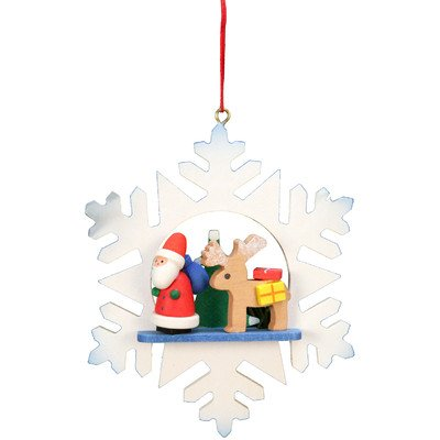 """10-0551 – Christian Ulbricht Ornament – Santa with Reindeer in Snowflake – 3.5″""""H x 3″""""W x 1″""""D"""