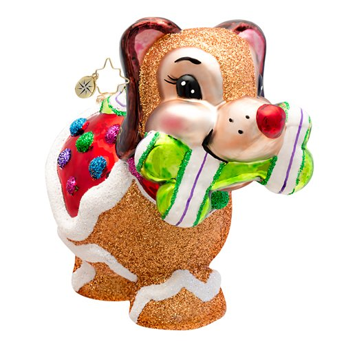 Christopher Radko Sugar Pooch Dog Glass Christmas Ornament 2014