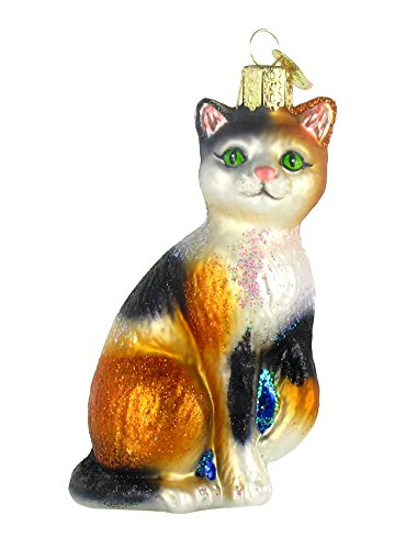 Old World Christmas Calico Cat Glass Ornament