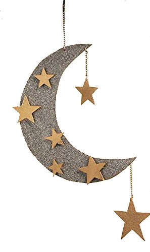 Bethany Lowe Glitter Half Moon and Stars Ornament