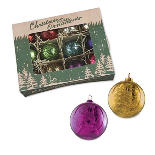 SET OF 12 JEWEL TONED MERCURY CHRISTMAS BALL ORNAMENTS IN A VINTAGE INSPIRED KRAFT BOX * Gorgeous Set of 2″ diameter jewel toned ornaments with an antique patina * Ornaments come in an ideally designed antique themed kraft box * A stunning addition to your Christmas Tree ornaments and holiday decorations * A wonderful Christmas Gift * Decorate your tree with these fantastic vintage ornaments for years to come * Various Colors * The color combination in each box is unique * Timeless Christmas Decorations *
