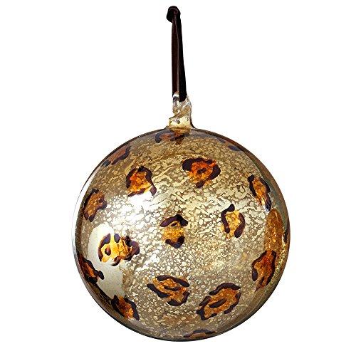 Sage & Co. XAO13836YL Leopard Print Ball Ornament, 4-Inch