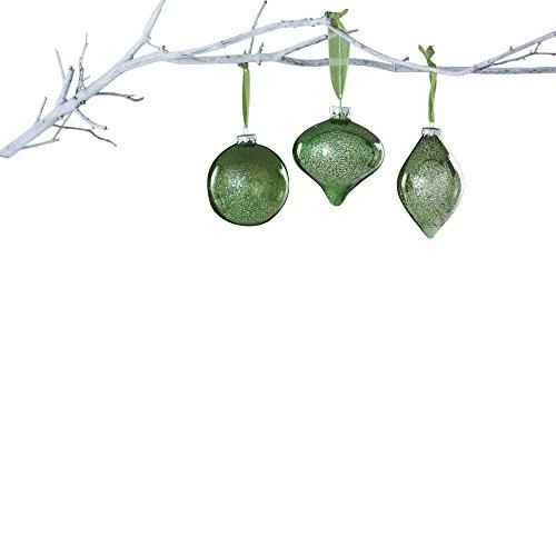 Sage & Co. XAO13856SG Glass Onion Ball Ornament Assortment, 4-Inch