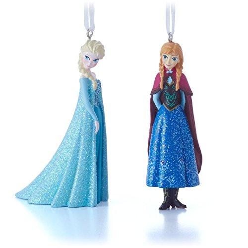 Hallmark Disney Frozen Elsa and Anna Christmas Ornaments, Set of 2