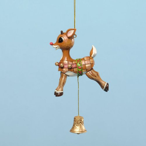 Jim Shore for Enesco Rudolph Traditions Vintage Pull String Ornament, 4.33-Inch