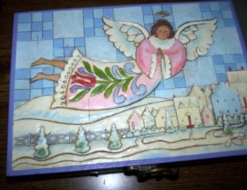Jim Shore Set of Angel Ornaments in Wooden Collector Box 4009384