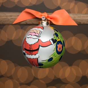 Glory Haus Auburn Santa Glass Ornament. (AU) Comes Packaged in a Gift Box for Perfect Presentation.