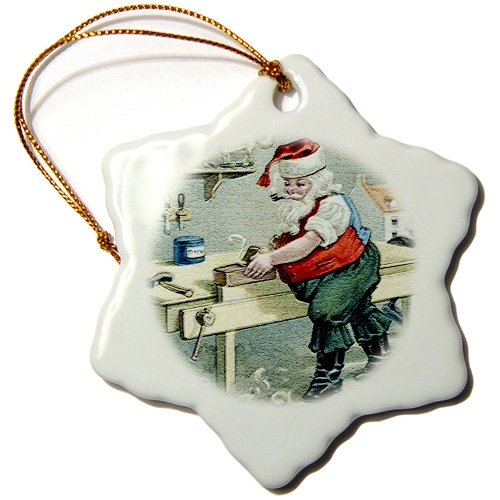 Sandy Mertens Vintage Christmas Designs – Santa Using Table Saw Making Special Toy in His Workshop – Ornaments – 3 inch Snowflake Porcelain Ornament (orn_172730_1)