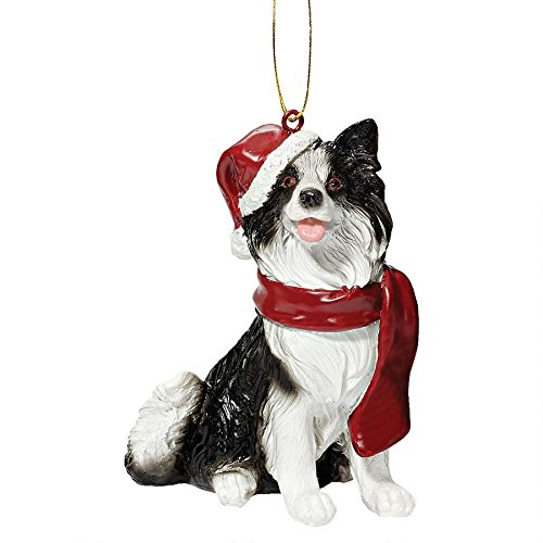Design Toscano JH576341 Border Collie Holiday Dog Ornament Sculpture, Full Color