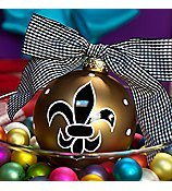 Coton Colors New Orleans Saints Painted Christmas Ornaments, the 100mm Round Glass Gold Fleur De Lis Ornament Is Designed with a Stylized Lily Accented By a Dot Pattern.