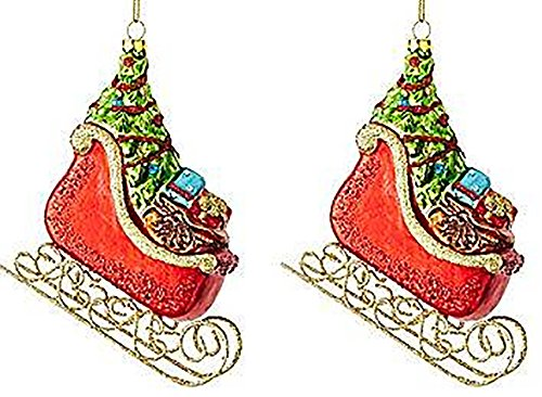 Marthaholiday Night Before Christmas Set of 2 Sled Ornaments