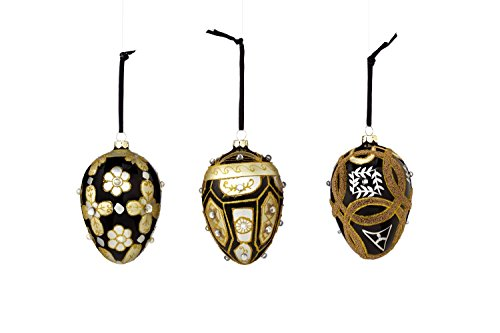 Sage & Co. XAO16924BK Glass Pattern Egg Ornament Assortment, 4.25-Inch