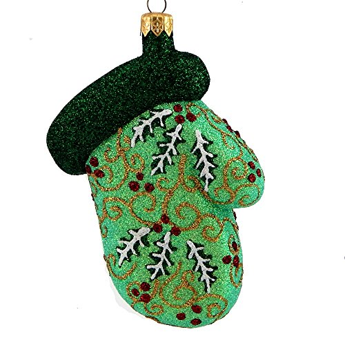 Mattarusky Marvelous Mitten Lt Green Glittered Glass Ornament