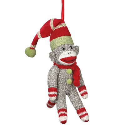 New Sock Monkey Santa Ornament for Christmas Holiday Tree / Stocking Stuffer / Party Favors / Gift Giving